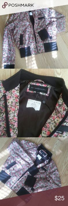 Members only spring  bomber jacket Nwt, cute, ladies junior jacket, very airy, Size M 100% polyester,  Chest  20inches, sleeves 26 inches long members only Jackets & Coats