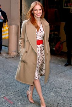 Jessica Chastain outside a TV studio in New York