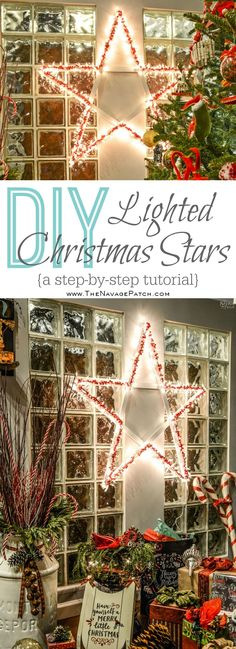 These DIY lighted Christmas stars are easy to make, and they look great indoors or outdoors. Put one inside near the tree, and see how the room glows! Diy Christmas Decorations, Decorating With Christmas Lights, Lollipop Decorations, Holiday Decorating, Christmas Garden, Simple Christmas, Christmas Diy, Christmas Trees, Nutcracker Christmas