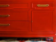 Inspiration... find a funky used dresser (goodwill,  craigslist, flea market) paint that sucker and attach leather handles.  I wish I had a workshop for all my future projects!!