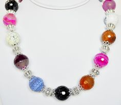 Agate Necklace Multi colored Handmade Jewelry in by beaddesignsbyk