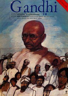 Gandhi (1982) Director: Richard Attenborough. Hungarian vintage movie poster Artist by:Ducki Krzysztof.