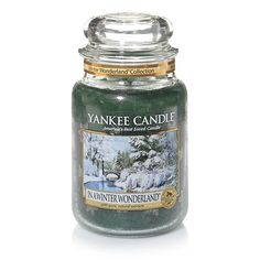Winter Wonderland© Collection (In a Winter Wonderland©) : Large Jar Candles : Yankee Candle ~ Sounds just like every other similar trees+snow scent, but pretty label pic. Scented Candles, Candle Jars, Yankee Candles, Candle Holders, Good Burns, My Yankees, Candle Shades, Candle Accessories, Candels
