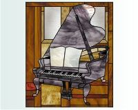 Piano grand piano stained glass pattern 40 x 33 inches []$4.00 | PDQ Patterns
