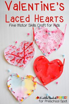 Valentines Heart Lacing Craft for kids to make while also working on fine motor skills
