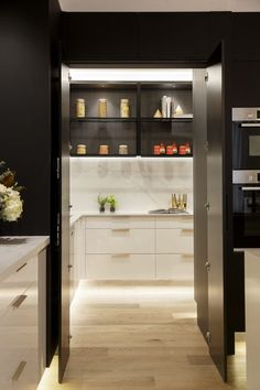 kitchen pantry design Hayden and Sara's modern kitchen has a generous butlers pantry on The Block 2018 complete with rack shelving and storage drawers. A modern black and white ki Kitchen Pantry Cupboard, Small Kitchen Pantry, Kitchen Pantry Design, Modern Kitchen Design, Kitchen Storage, Pantry Storage, Kitchen Black, Pantry Rack, Refacing Kitchen Cabinets
