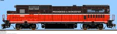 GE B39-8:  The Providence and Worcester Railroad (PW) is a Class II railroad in the United States.  The PW railroad connects from Gardner in central Massachusetts, south through its namesake cities of Worcester and Providence, Rhode Island, and west from Rhode Island through Connecticut and into New York City. The railroad's connection between New Haven, Connecticut and New York City and onto Long Island is via trackage rights over the Hell Gate Bridge.