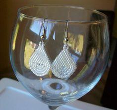 Ceylon Pearl White Beaded Teardrop Earrings by mswolflady on Etsy, $10.00