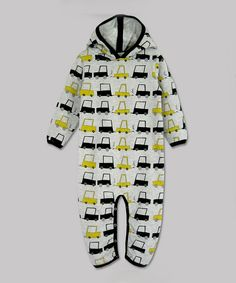 Look at this #zulilyfind! A.T.U.N. Gray & Yellow Cars Organic Hooded Jumpsuit - Infant by A.T.U.N. #zulilyfinds
