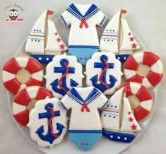 Baby Boy Cookies, Onesie Cookies, Baby Shower Cookies, Cute Cookies, Nautical Cake, Nautical Party, Navy Party, Boy Baby Shower Themes, Baby Boy Shower