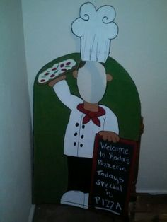 My son is having a pizza birthday party, so I drew a cartoon chef and painted it on cardboard. Cut out where the face goes an Ta-Da all kids can take pictures as a chef!!