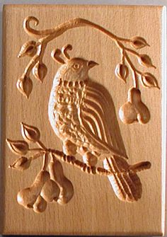 A partridge in a pear tree - Springerle Boards (Springerli Cookie Molds) handcarved by woodcarver Gene Wilson. Functional old-world style, hardwood moulds for shaping embossed (edible-art) picture cookies so popular at Christmas. Molded Cookie Recipe, Frog Cookies, Dutch Cookies, Springerle Cookies, Butter Molds, Wood Carving Designs, Chip Carving, Vintage Cookies, Candy Molds