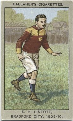 E. H. Lintotott, Bradford City, 1909-10. From New York Public Library Digital Collections.