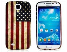 Samsung Galaxy S4 / I9500 Rubber Protective Case Retro USA American Flag Design