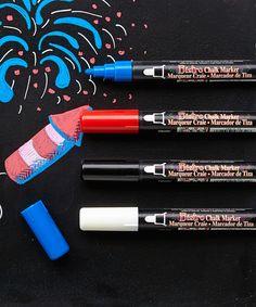 This Basic Color Chisel-Tip Chalk Marker Set by Marvy Uchida