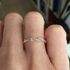 science jewelry : silver DNA ring 3D printed by somersault1824