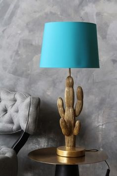 Antique Gold Cactus Table Lamp with Turquoise Shade