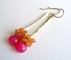 Pink Orange Gemstone Cluster Orange Carnelian by BellaAnelaJewelry, $43.00