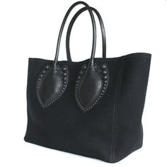 AZZEDINE ALAIA. PARIS. Black leather & melton wool handbag tote bag studded Tote
