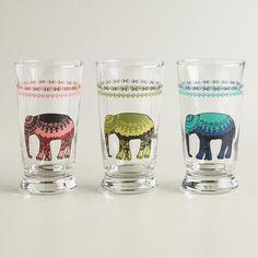 Elephant Glass Tumblers, Set of 3