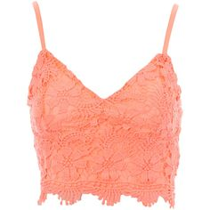 Jane Norman Crochet Bralet ($27) ❤ liked on Polyvore featuring tops, crop top, shirts, bralet, hot pink, summer tops, crochet summer tops, summer shirts, red shirt and hot pink crop top