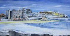 Jayne Russell Art  Snowy Laugharne Castle