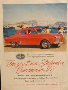 1951 Studbaker Commander V 8  50 s original print ad  Color Illustration  beach  life magazine