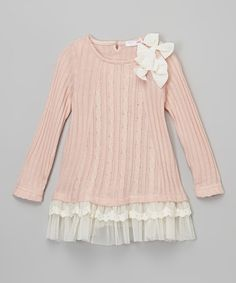 Look what I found on #zulily! Pink Sheer-Trim Flower Sweater - Toddler & Girls by  #zulilyfinds