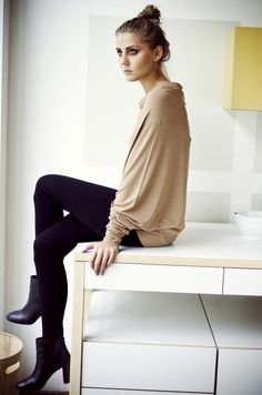 LeMuse capuccino asymetric Muse blouse