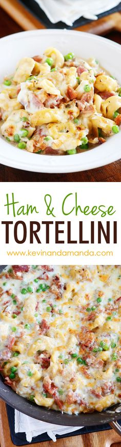 A whole meal in one pan! This Ham & Cheese Tortellini is creamy, cheesy, deliciousness in every bite! Make it in 15 minutes and everything cooks in one pan, so you only have one dish to wash. The perf (Italian Recipes Tortellini) Tortellini Recipes, Cheese Tortellini, Ham And Cheese Pasta, Tortellini Bake, Asiago Cheese, Creamy Cheese, Pasta Dishes, Food Dishes, Pasta Meals
