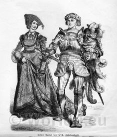 German Knight in armor and Princess clothing