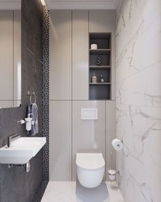 Small bathroom with a ton of hidden back wall storage. Minimal and contemporary // New project by Z E T W Small bathroom with a ton of hidden back wall storage. Minimal and contemporary // New project by Z E T W I X Gray Bathroom Decor, Wood Bathroom, Grey Bathrooms, Bathroom Interior Design, Modern Bathroom, Bathroom Toilets, Bathroom Ideas, Bath Ideas, Toilet And Bathroom Design