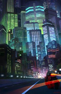 Fanart of Neo Tokyo / cyberpunk / sci fi city lights