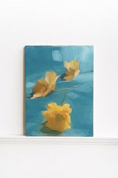 Wildflower    Original painting on birch panel  Acrylic  7x5.25 inches By LeahJesseArts