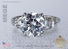 Classic five-stone engagement ring featuring a round diamond by Leon Mege.