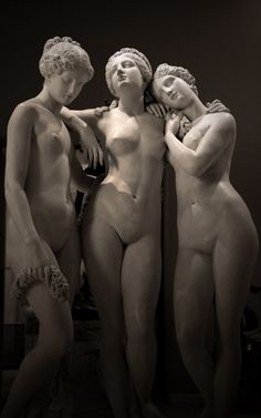 """""""Les trois Grâces""""  Oeuvre de Jean-Jacques Pradier (1831) Musée du Louvre ; département des sculptures. Daughters of Zeus and Eurynome, Aphrodite companions, they had the names Euphrosyne, Aglaia and Thalia. They were the epitome of beauty, seduction, fertility and love ......... they were joy and zest for life .... Posted on Flickr - Photo Sharing! by van LEMEUR"""