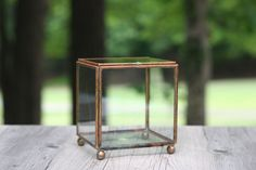 Vintage Glass Cube Display Case / Glass and Copper Curio Box / Glass Cube Curio Box by theretrobeehive on Etsy