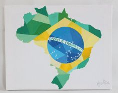 CYBER MONDAY SALE Brazil Country Map Painting, Brazil Map, Brazil Flag, Map Wall Art, Map Wall Decor, Flag Art, Canvas Map Art