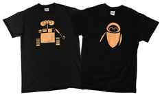 Disney Wall-e and Eve Couples Bleached T-shirt by DanasJumble on Etsy Wall E, Disney Couples, Disney Fun, Disney Shirts, Disney Outfits, Bleach T Shirts, Vacation Shirts, Colour List, Matching Shirts