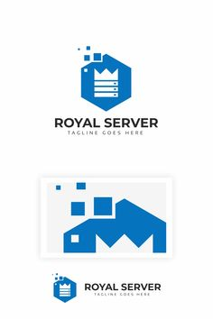 Royal Server Logo: multifunctional logo that can be used in technological companies, in companies and applications for software development, construction Data Logo, Logo Minimalista, Software Development, Multifunctional, Logo Inspiration, Logo Templates, Logo Design, Construction, Ads