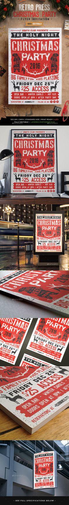 Retro Press Christmas Flyer Invitation Template PSD #design Download: http://graphicriver.net/item/retro-press-christmas-flyer-invitation/13587145?ref=ksioks