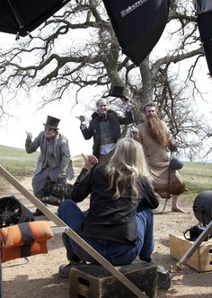 Behind the scenes with Jack Black, Will Ferrell and Jason Segel  as the Hitchhiking Ghosts from the Haunted Mansion by Annie Leibovitz for Disney Parks Campaign (AP Photo/Disney Parks.com, Scott Brinegar)