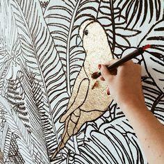 my work and i painting a wallpainting and mural Artist Lena Petersen www.lenapetersen.de