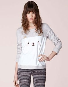 Fleece top with animal patch - T-shirts - Russia