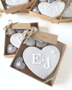 Lavender heart monogram cookie wedding favours