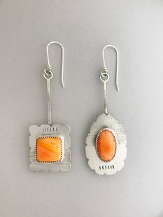 Silver Mismatched Earrings Dangle Orange Gemstone Jewelry For