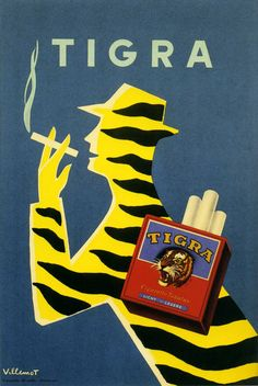 Villemot 1954 vintage Tigra Cigarettes ad advert poster  Tiger