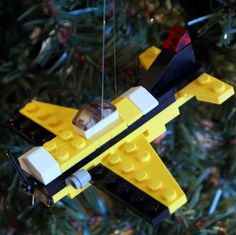 LEGO Prop Plane Christmas Ornament. $10.00, via Etsy.