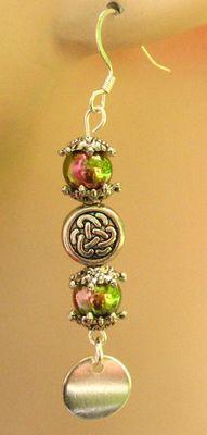 Green Celtic Knot Dangle Earrings Handmade Jewelry