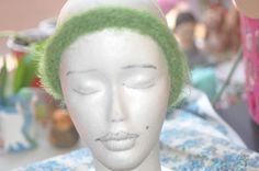 Green fuzzy headband by jfaypaperdolls on Etsy